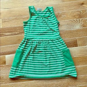 Green striped Hanna Andersson pocket dress sz 6-7